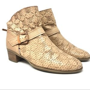 Hispanitas Tan Perforated Leather Ankle Booties 40